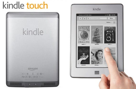 Parte trasera y frontal del Kindle Touch