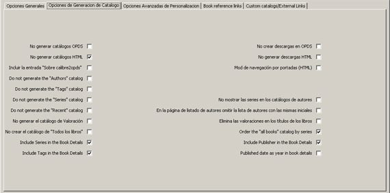 Opciones para crear el catálogo OPDS