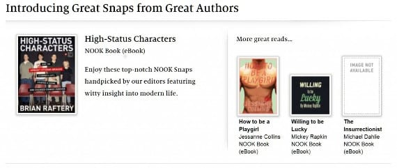 Nook Snaps, el relato corto de Barnes & Noble