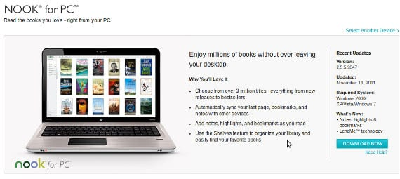 Nook para Pc y Mac vuelven a estar disponibles