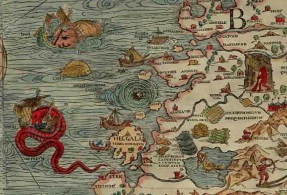 Carta marina Maelstrom, remolino gigante
