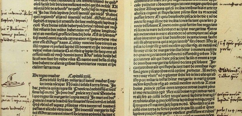 Manuscrito con notas al pie de página