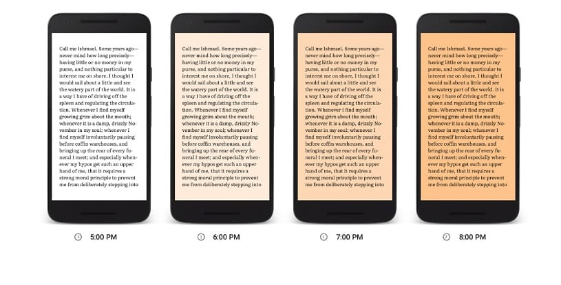 Luz nocturna de Google Play Books