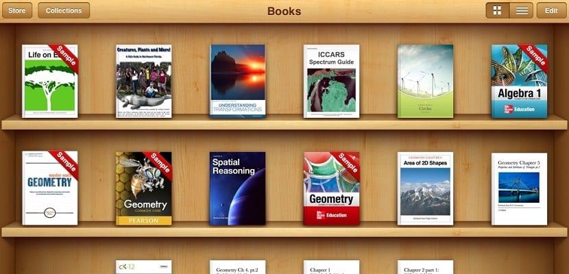 Estantería de la aplicación iBooks.