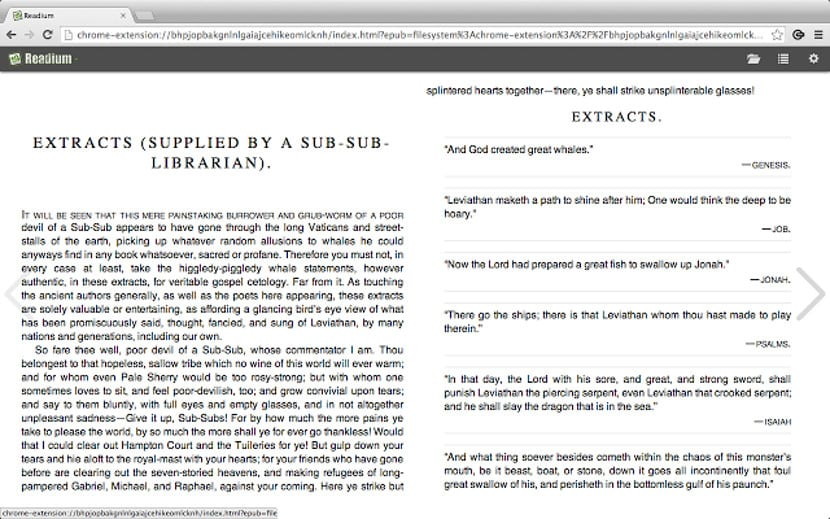 Readium para Chrome mostrando dos páginas en pantalla partida
