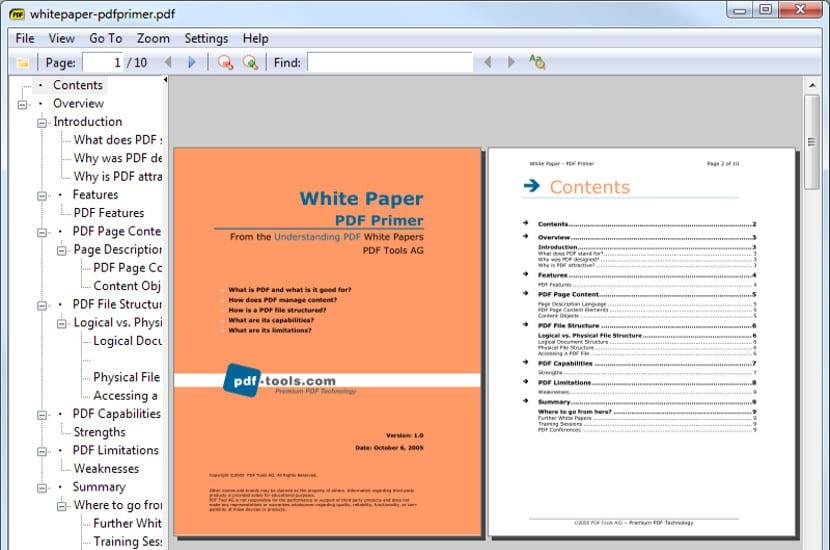 Captura de pantalla de Sumatra, con pantalla partida mostrando el titulo y el indice.