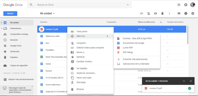 Abrir PDF con documentos de Google