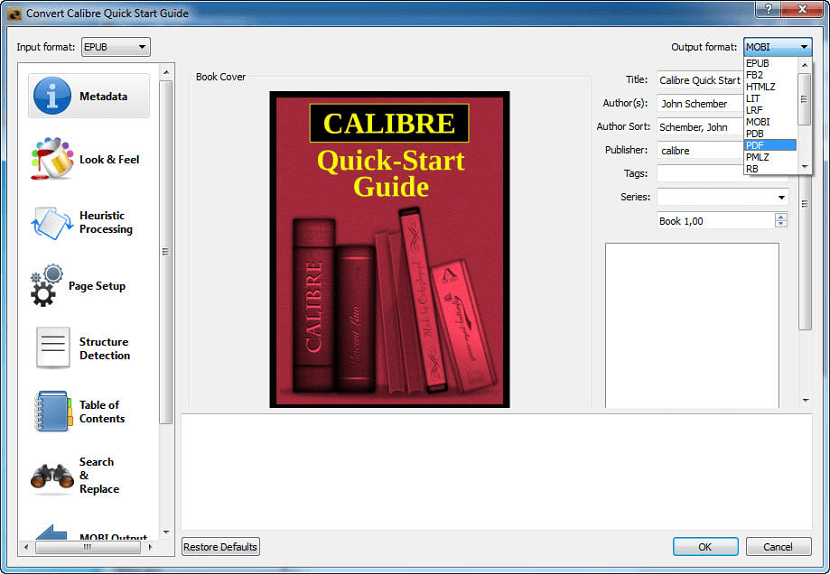 Conversor de formatos eBook Calibre Portable
