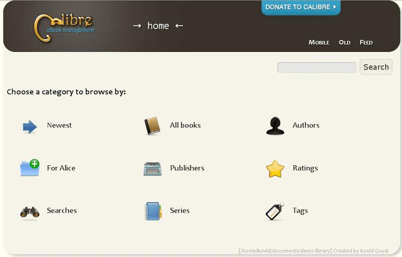 Calibre eBooks organización