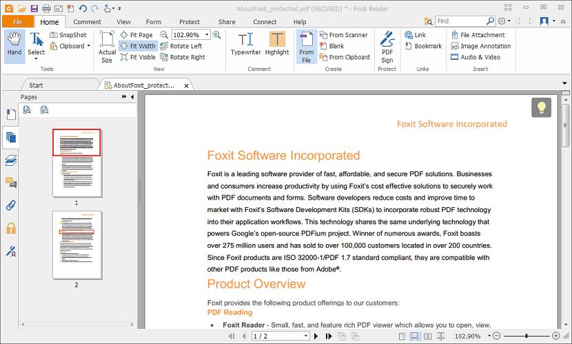 Interfaz edición de archivo Foxit Reader