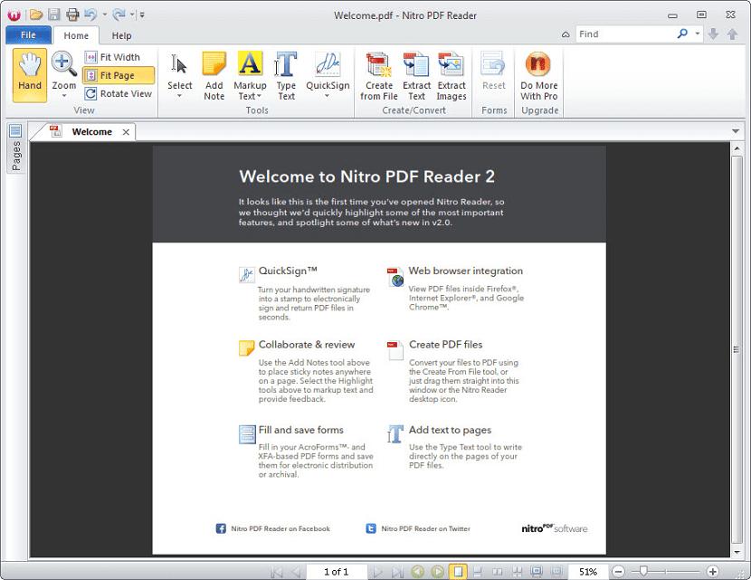 Interfaz de Nitro PDF Reader