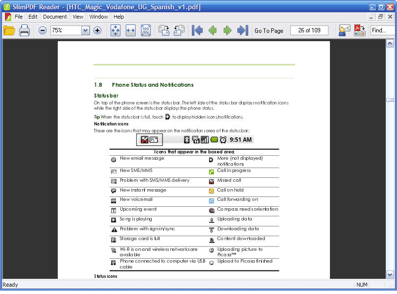Interfaz de Slim PDF Reader