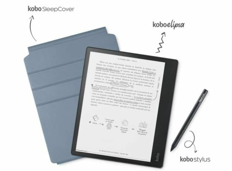 Imagen del Kobo Elipsa con el Kobo Stylus y la funda